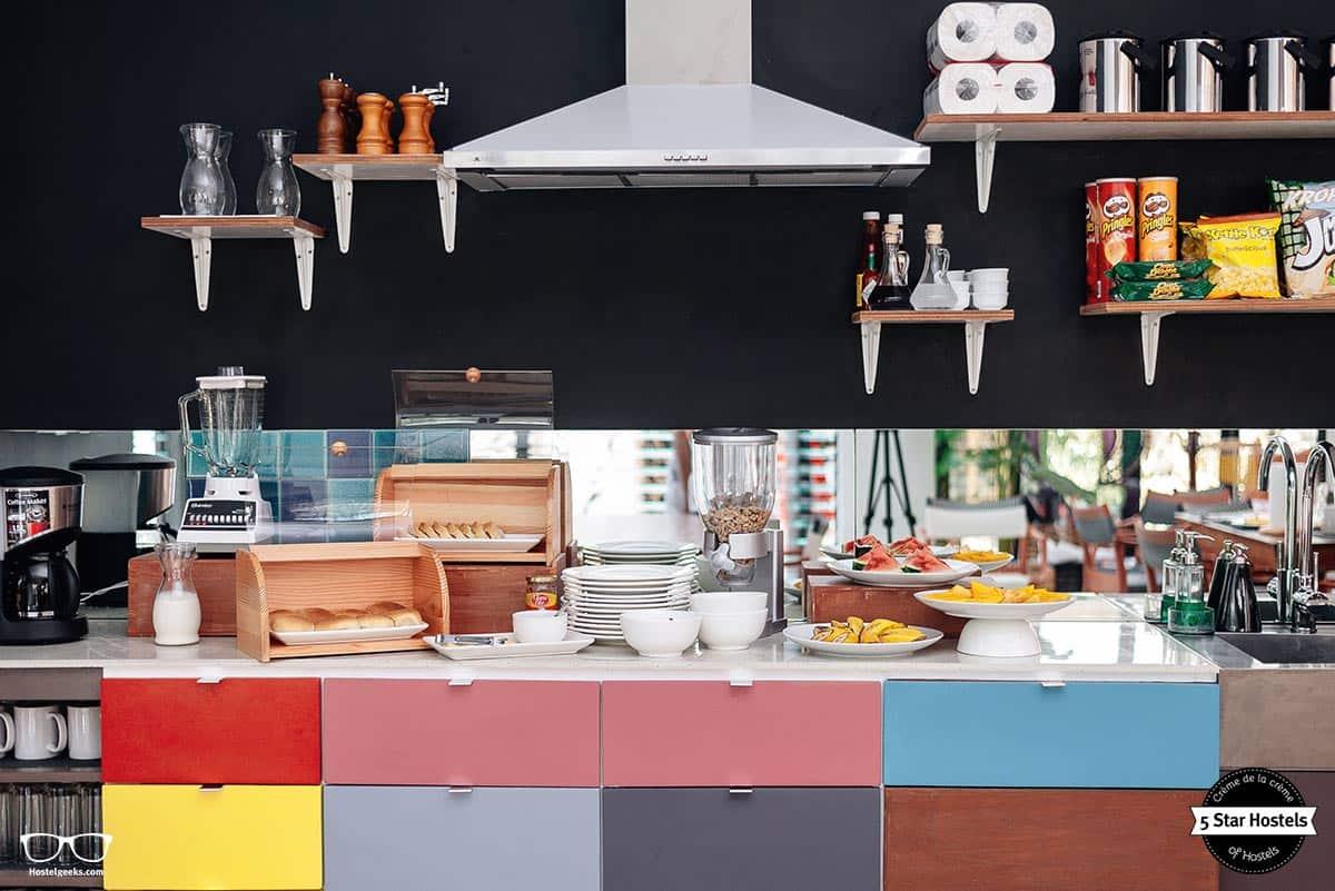 The hostel kitchen at Spin Designer Hostel El Nido