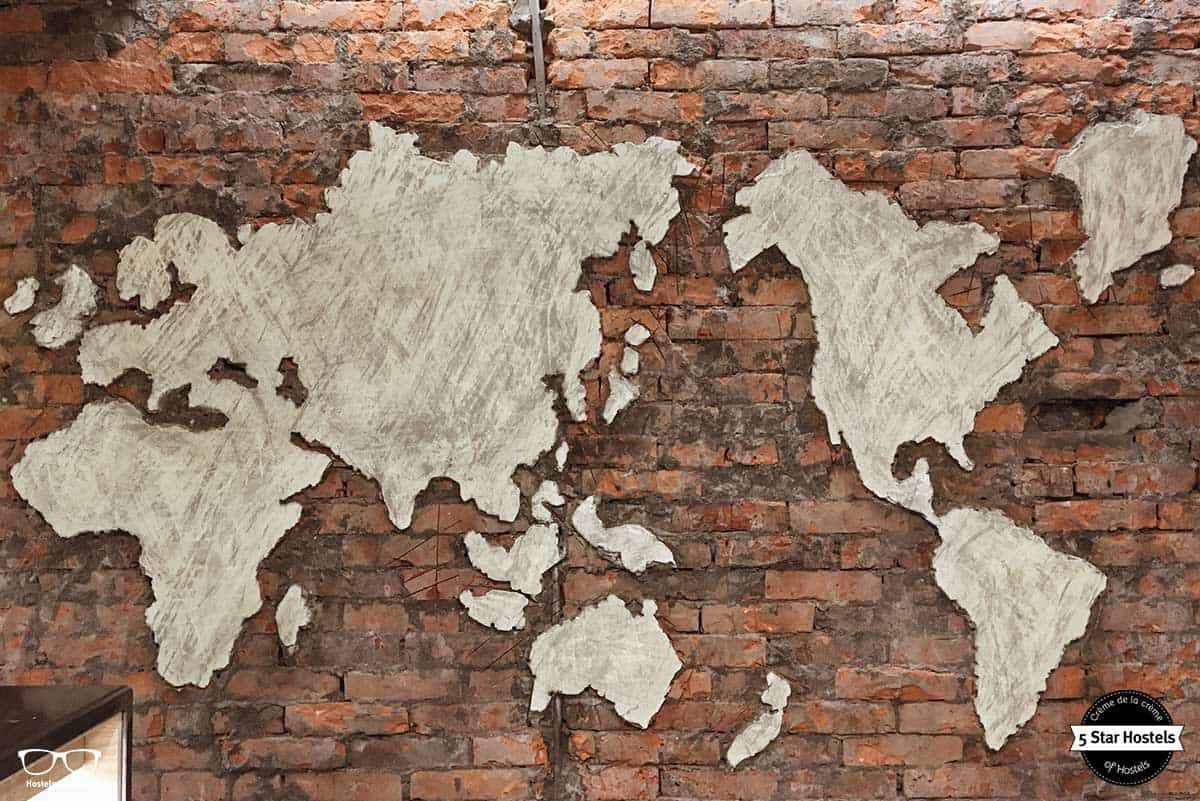 Wall map at Wow Poshtel