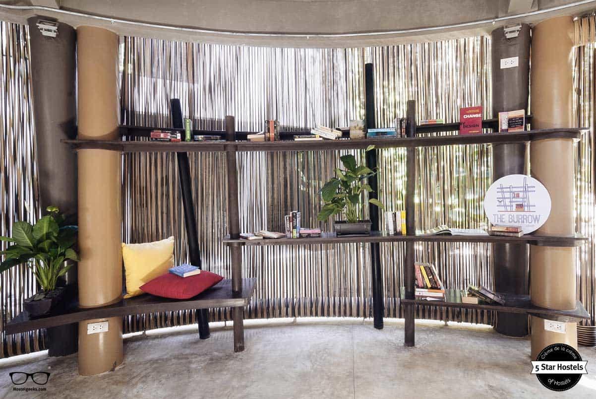 The burrow exchange book corner at Spin Designer Hostel