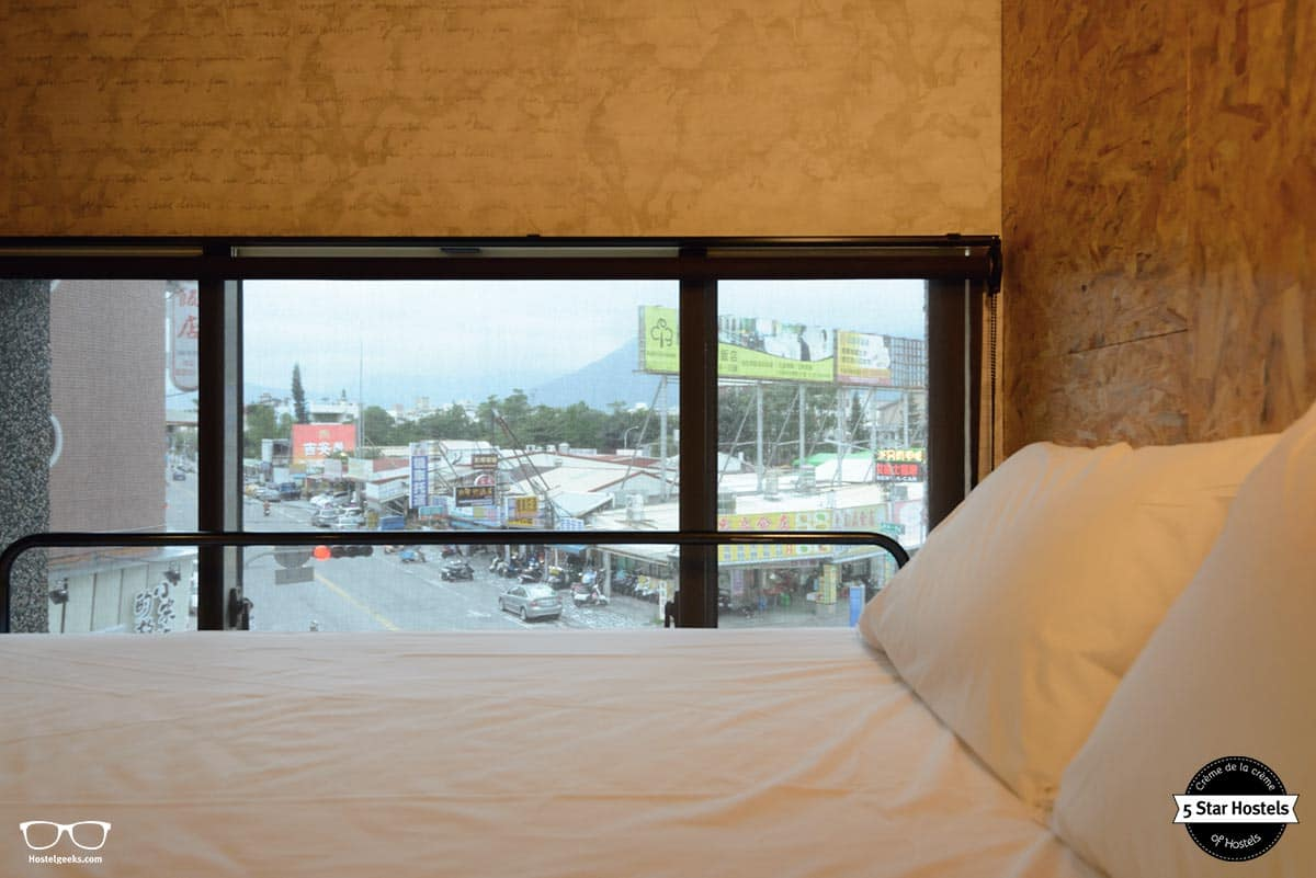 Bunk bed with a view in Hualien Wow hostel