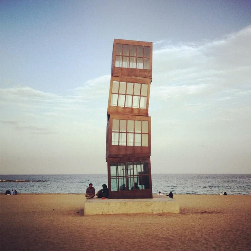 the cube tower at Barceloneta beach