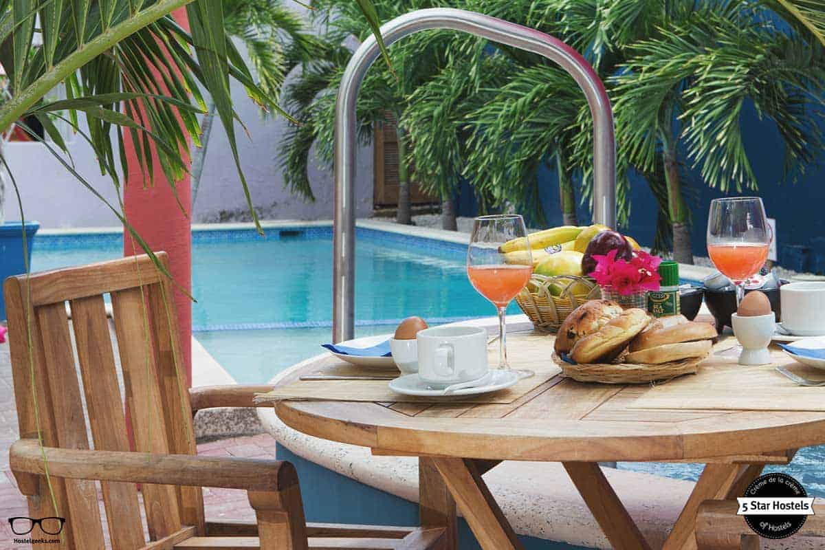 Breakfast time at The Ritz Village Hostel Curacao
