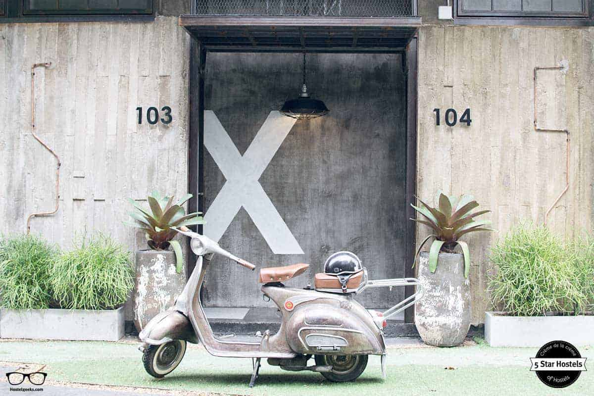 Vintage motorbike at Oxotel