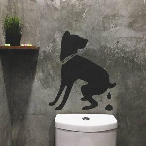 Bathroom Design - a pooping dog