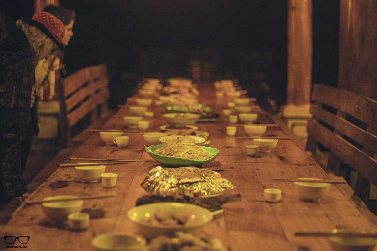 Family dinner at Woodstock Beach Camp