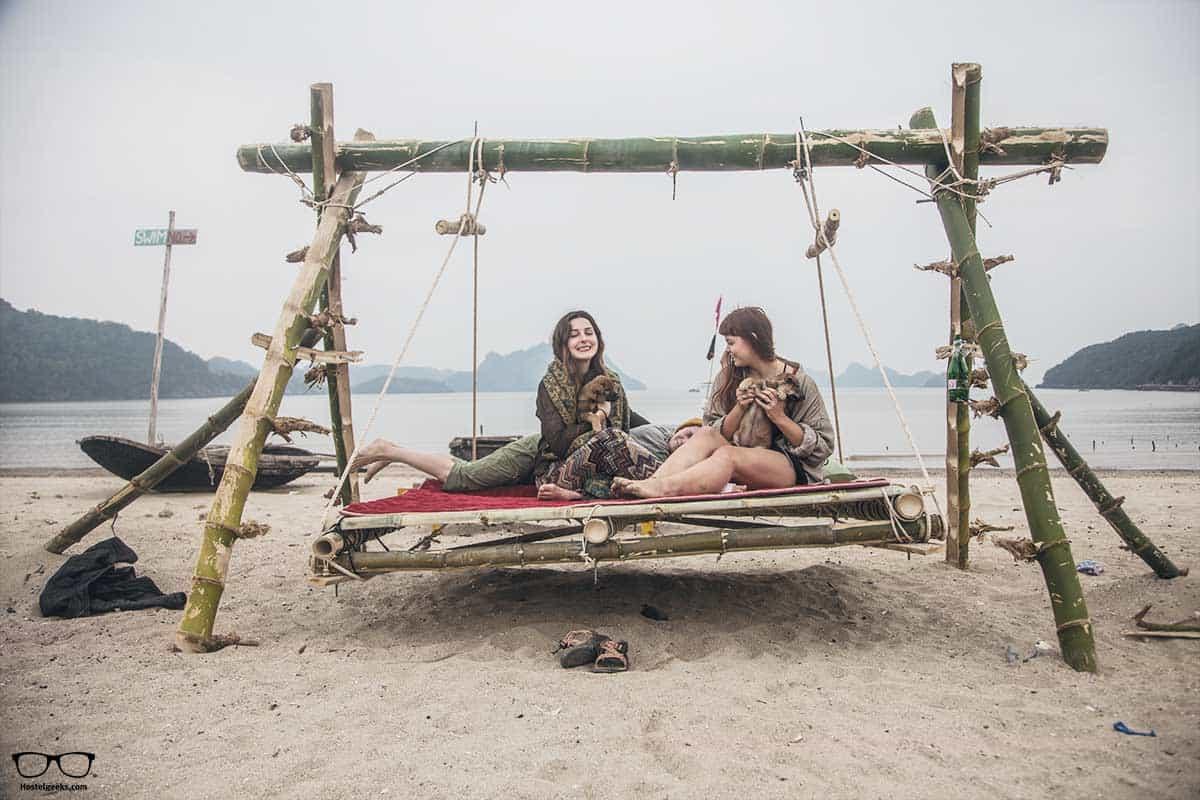 Swing it! at Woodstock Beach Camp, the best hostel in Cat ba Island
