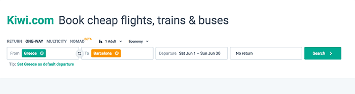 Kiwi Flights from Greece to Barcelona