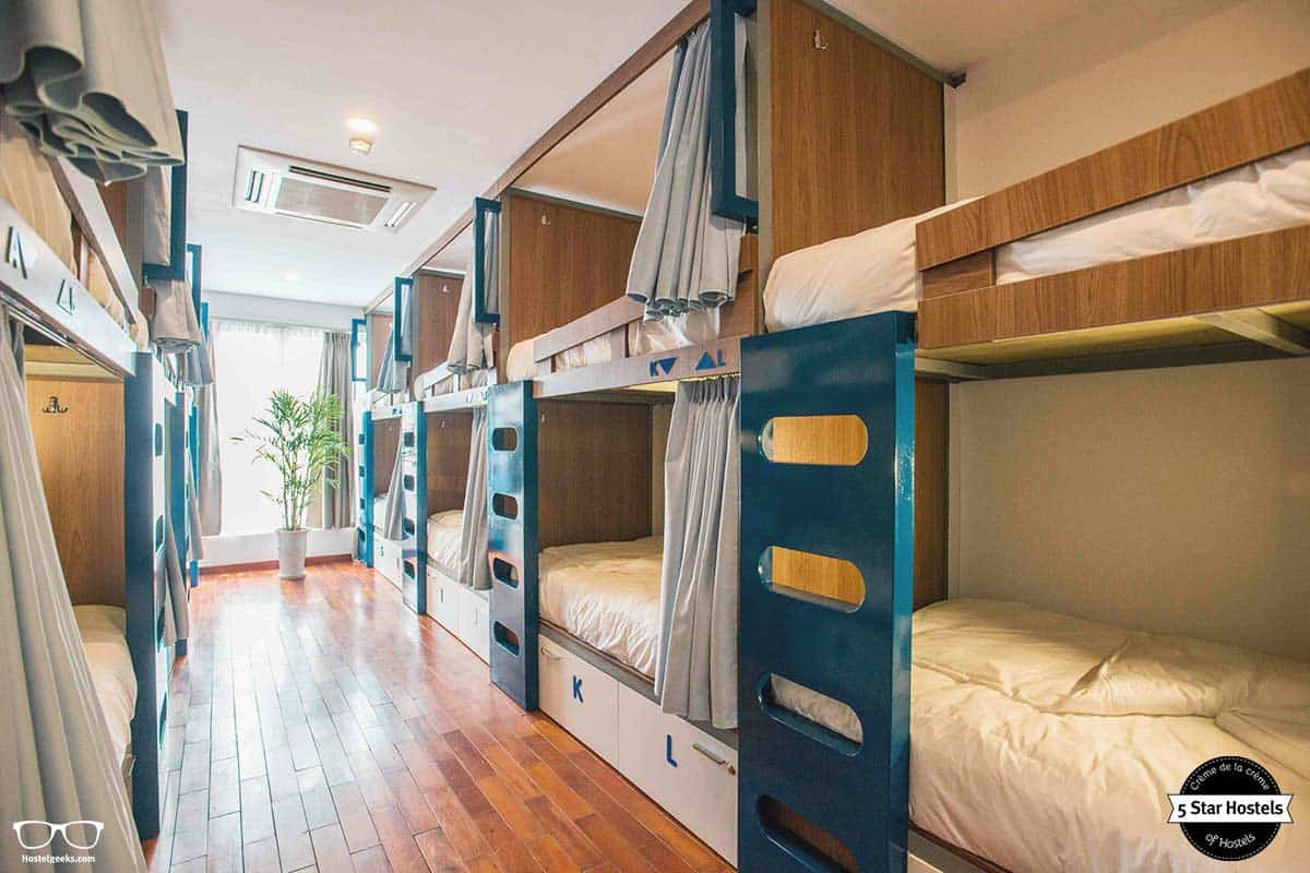 Ligthly dorm at NEXY Hostel in Hanoi, Vietnam