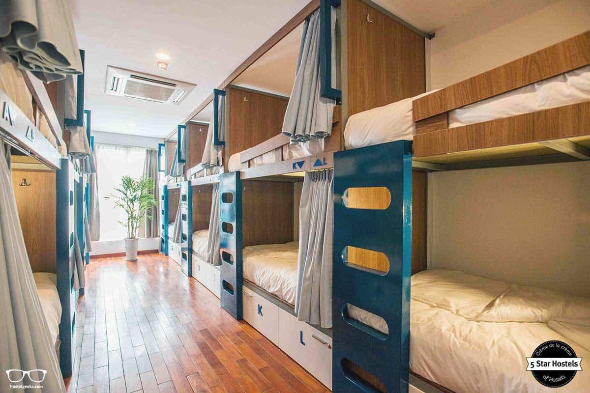 Ligthly dorm at NEXY Hostel in Hanoi, Vietnam