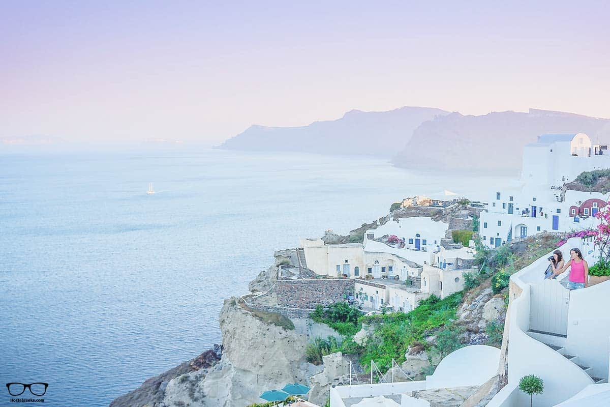 Stunning sunset colors in beautiful Oia