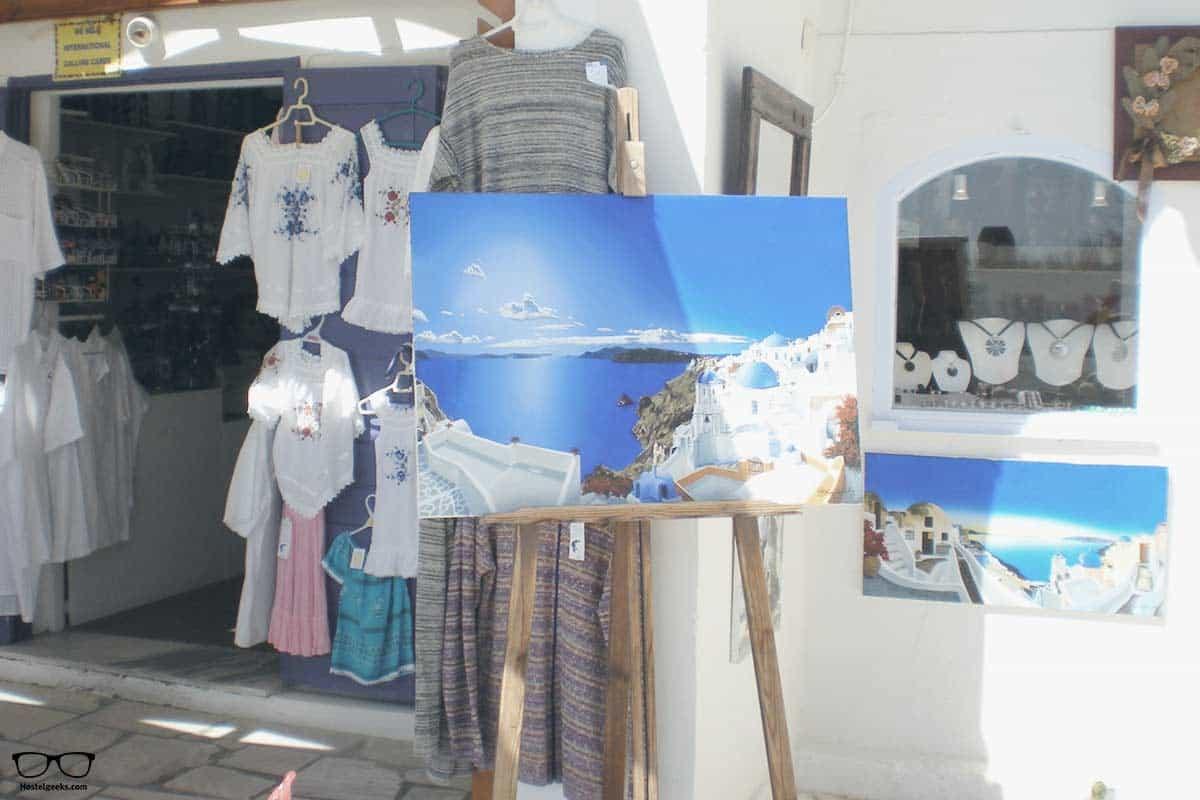 White shops all around in Santorini