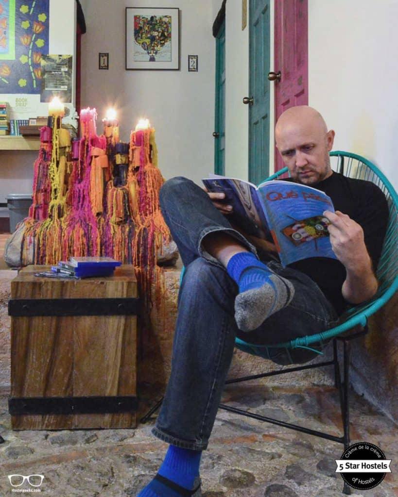 Reading at Cucuruchos Boutique Hostel