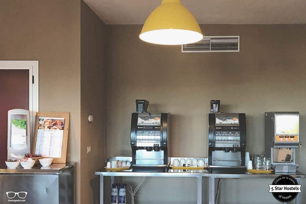 Free coffee at Bergamo hostel