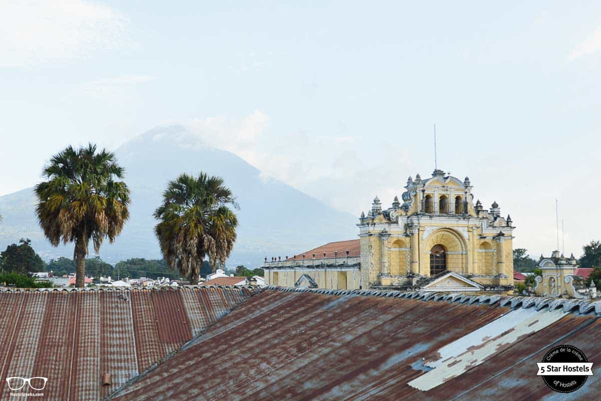 Rooftop terrace views at Cucuruchos Boutique Hostel Antigua
