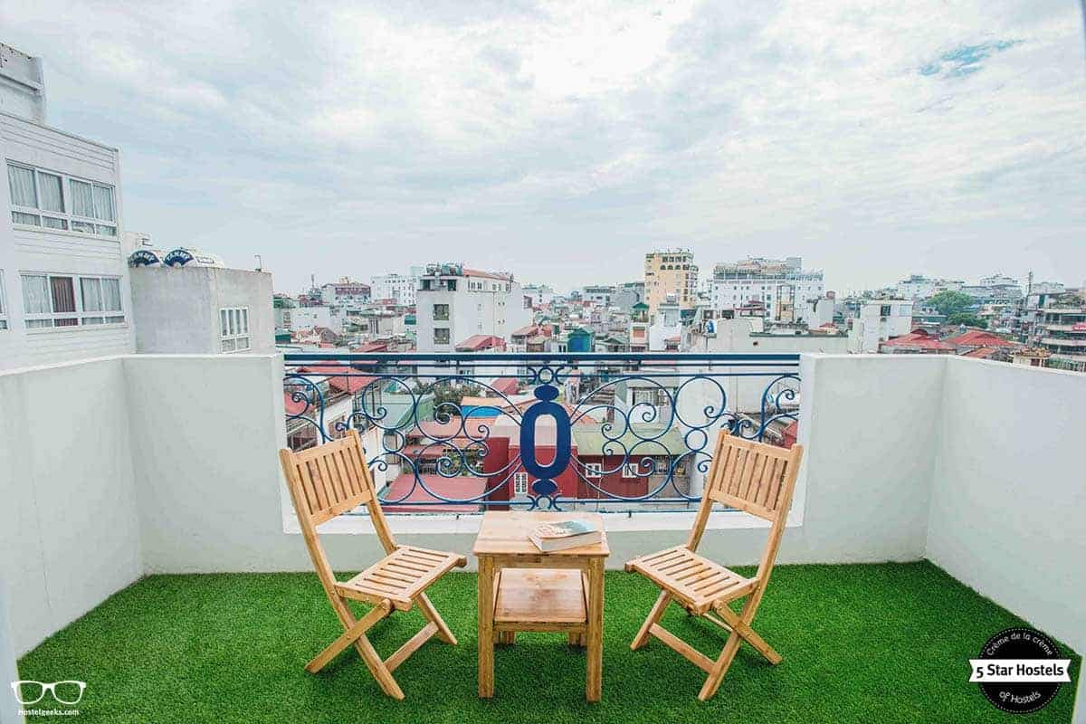Tranquilo moment at NEXY Hostel terrace, Hanoi