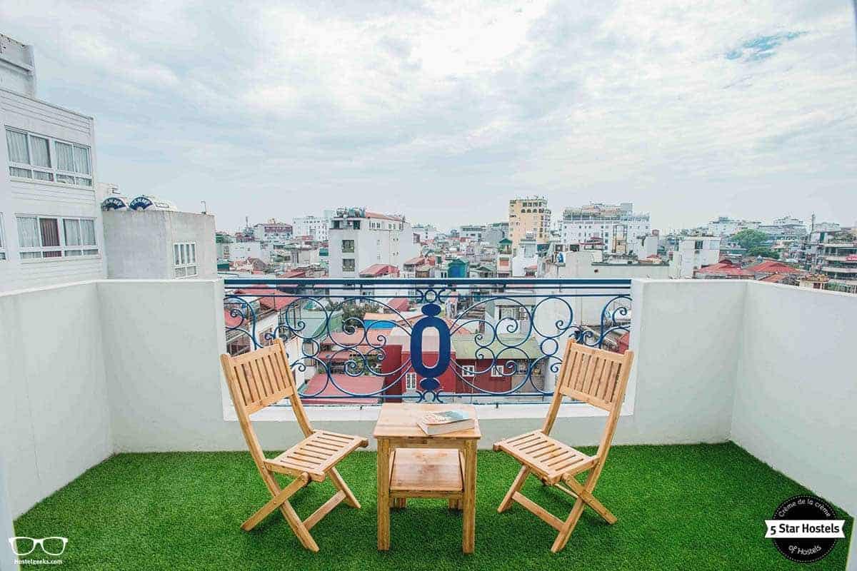 Tranquilo moment at NEXY Hostel terrace, Hanoi