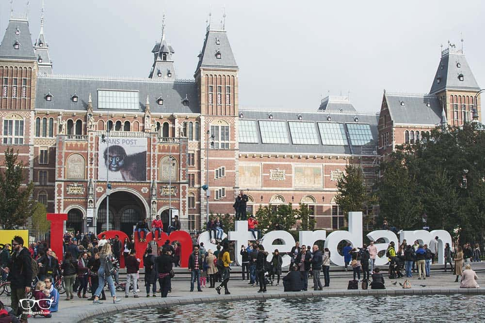iamsterdam sign, crowded with tourists