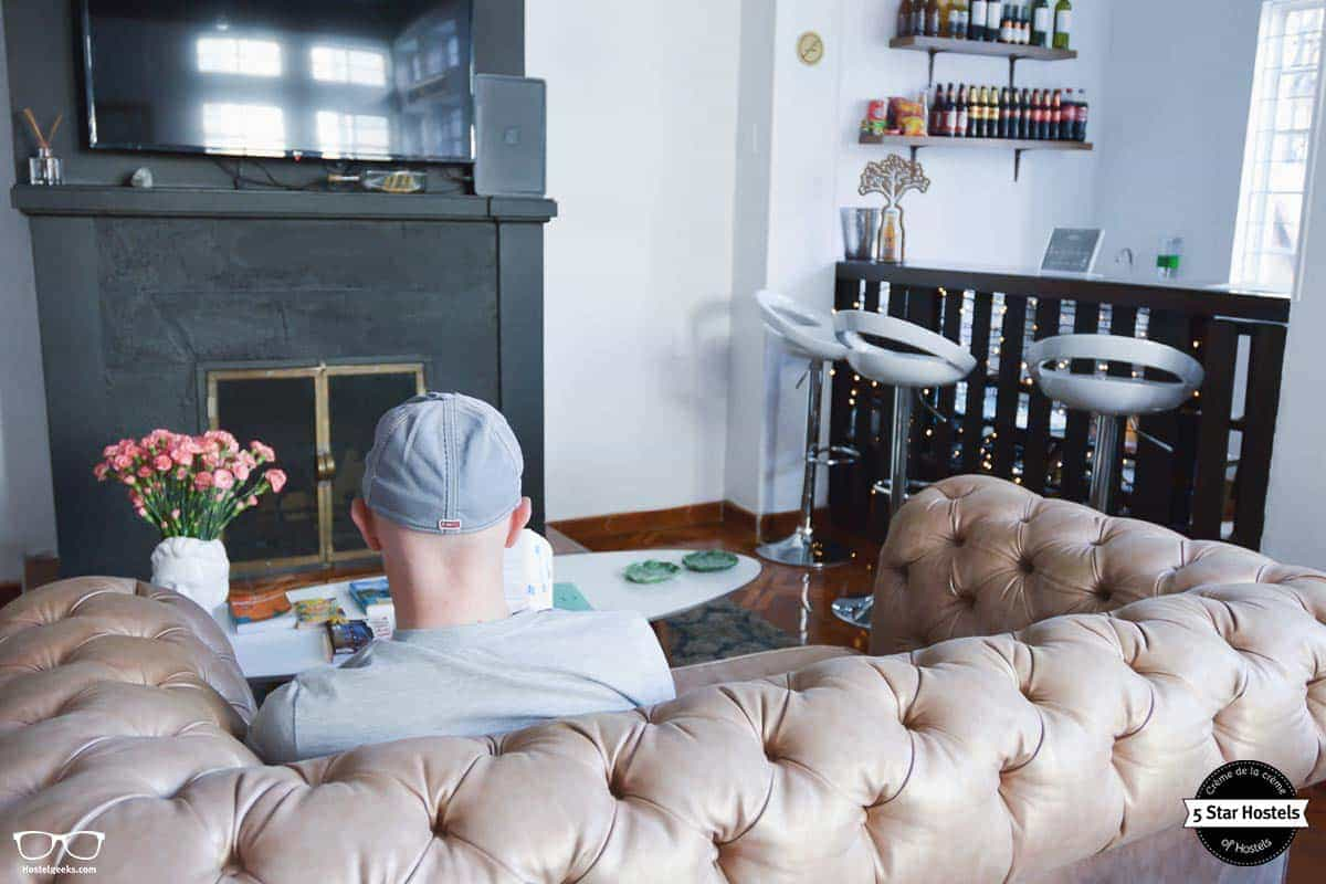 Cozy sofa at Hobus Hostel