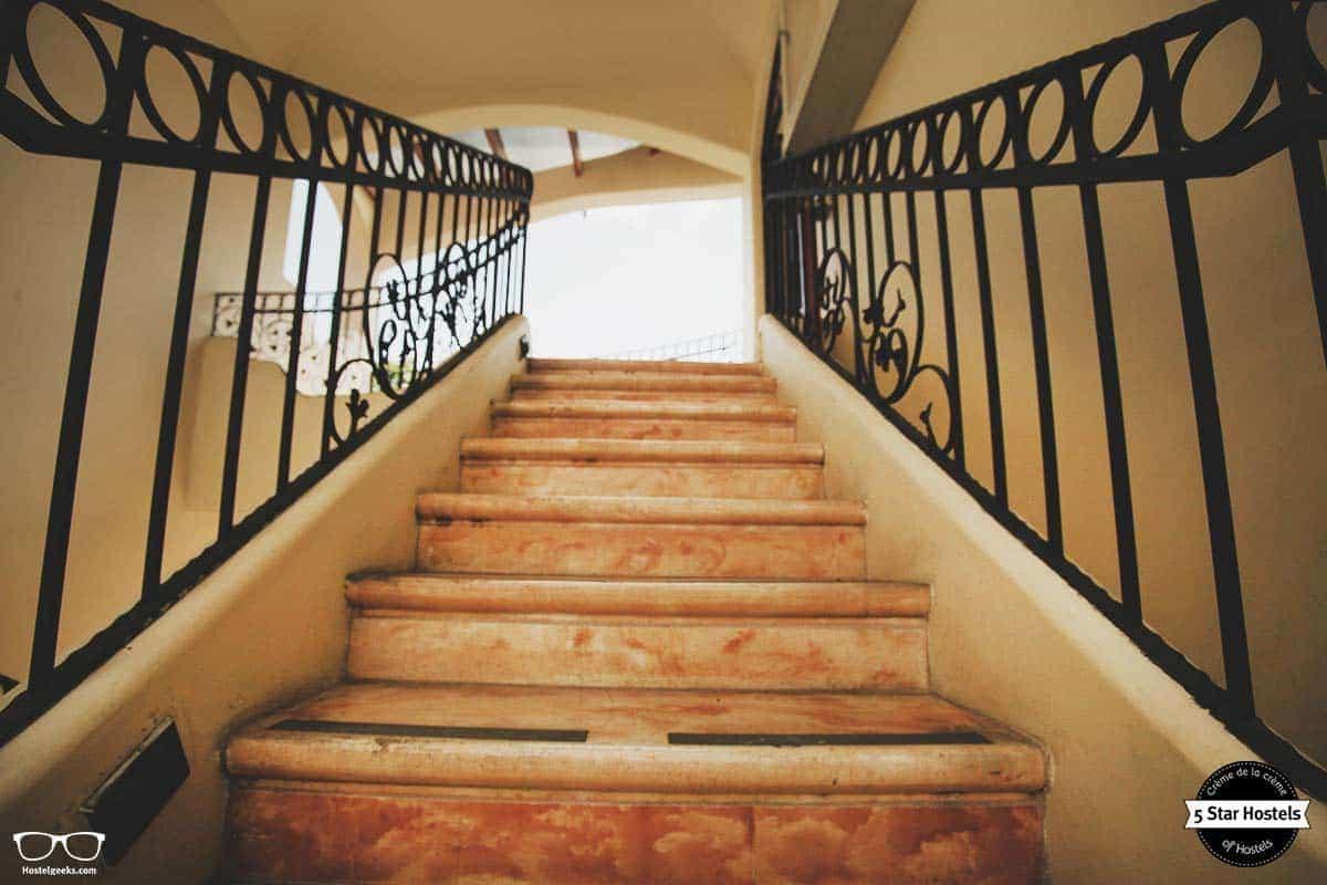 Stair details at Fauna Luxury Hostel in San Jose