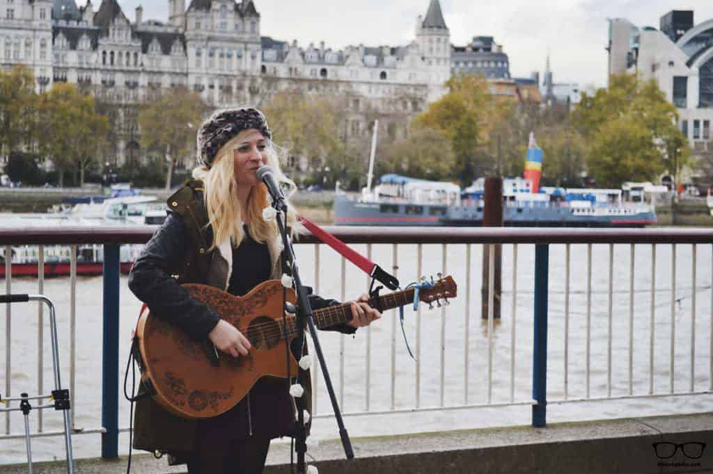 Charlotte Campbell performing at London eye