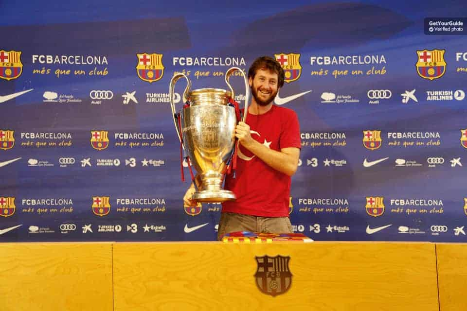 Lift the trophy at your Camp Nou Experience