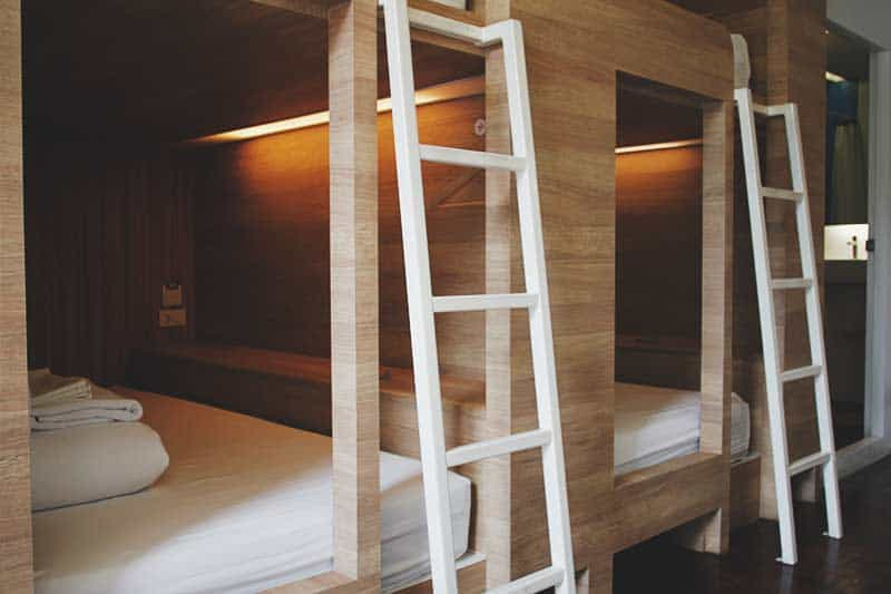The pod-style bunk beds at Yim Hostel