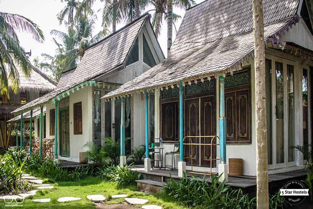 Traditional Java houses at Captain Coconuts, in Gili Air