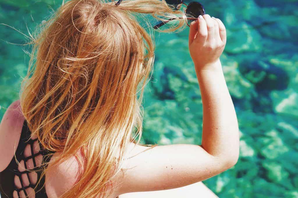Backpacker Girl in Santorini