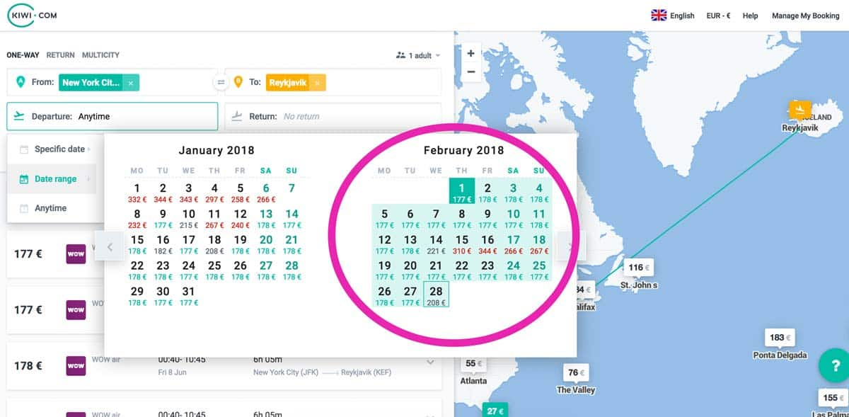 Flexible dates search in Kiwi. Being flexible means cheaper flights