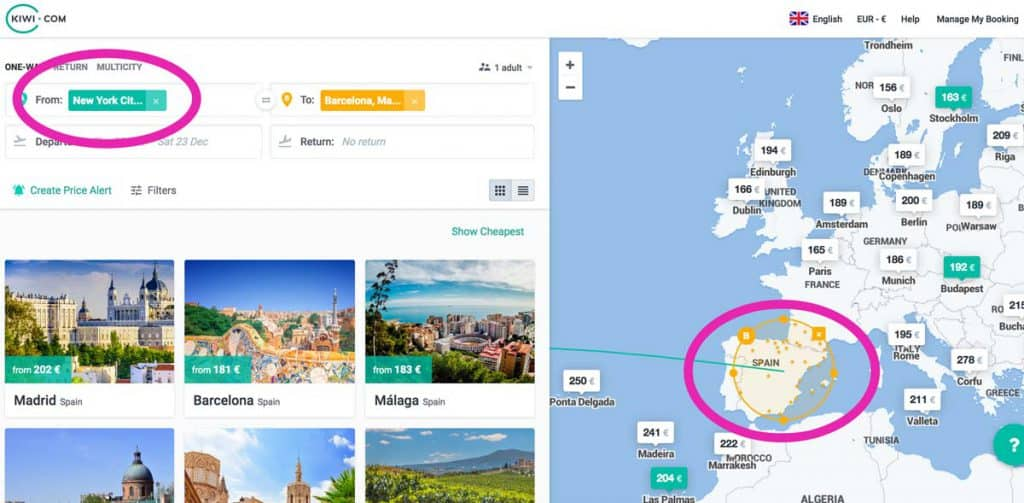 kiwi flight engine search: select an area