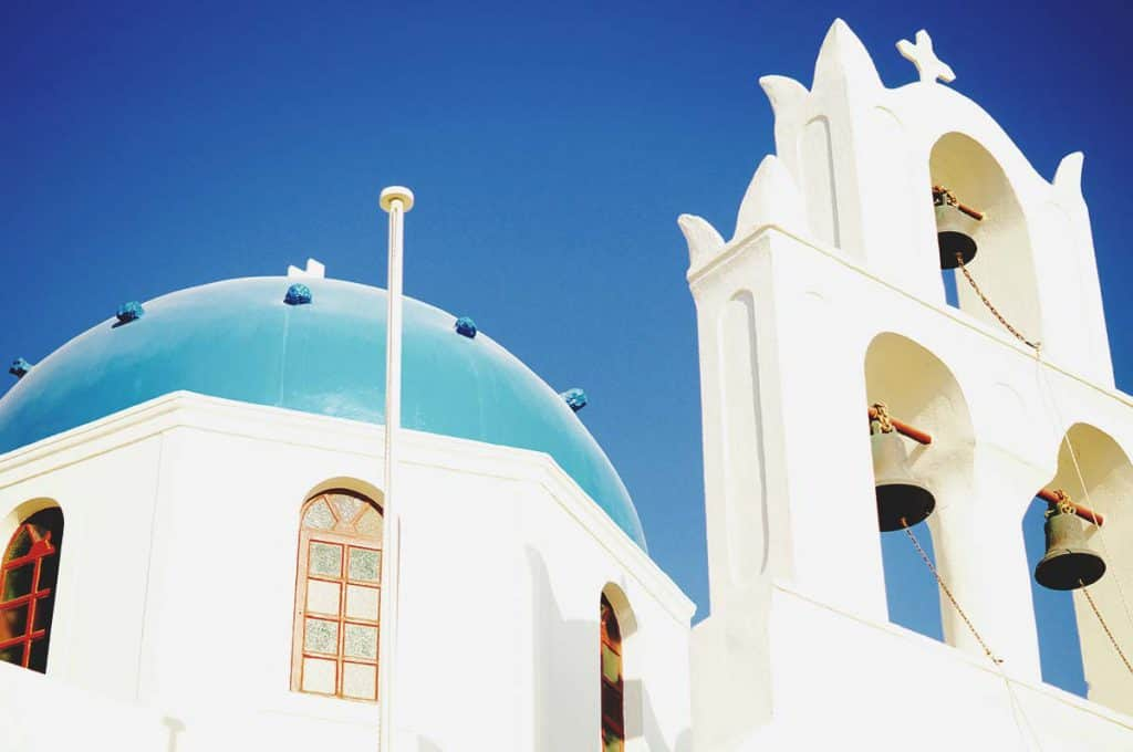 The clock tower in Oia, Santorini