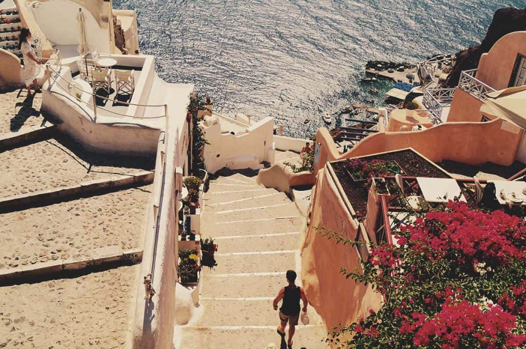 Walking Backpacker in Santorini