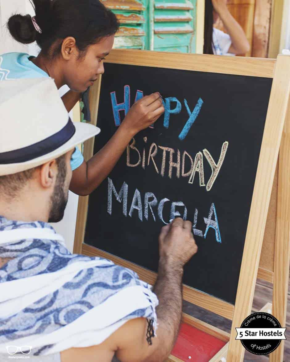 Happy Birthday, Marcella. It's time to celebrate with your hostel buddies