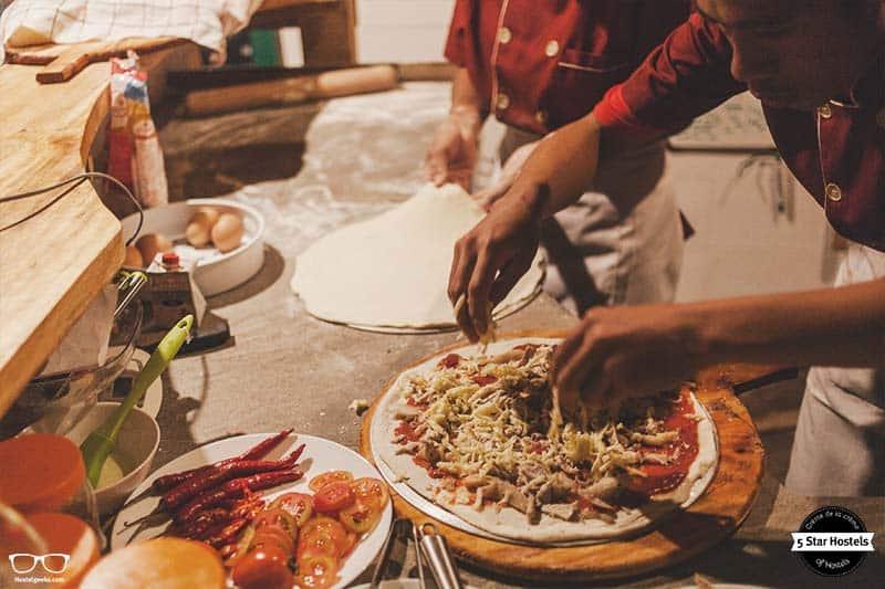 Enjoy a handmade pizza at Dragon Dives onside restaurant