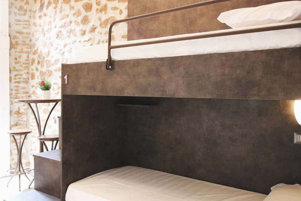 Details at the bunk beds in New Generation Hostel in Rome