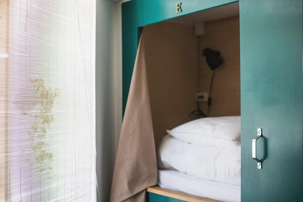 Capsule bed at Woodah Hostel Copenhagen