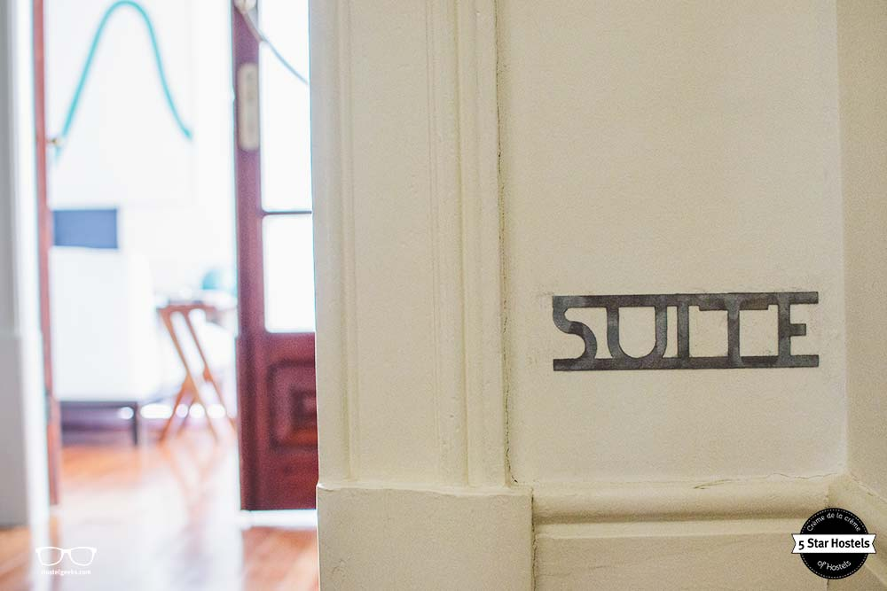 Entrance and sign to the stunning hostel suite