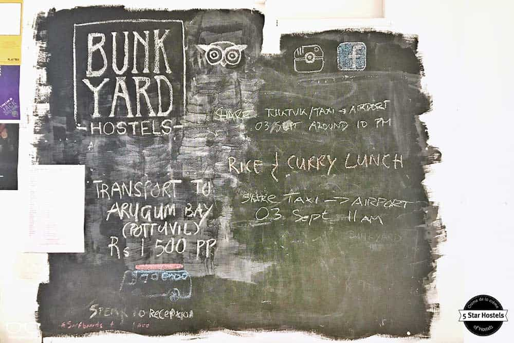 Activities board at Bunkyard, best hostel in Colombo