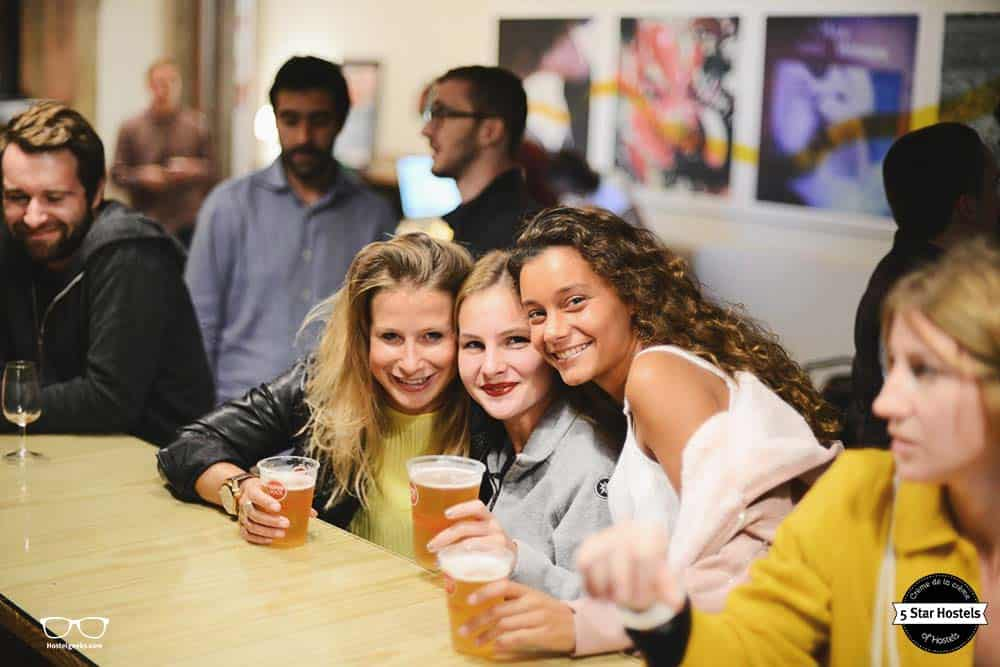 Guests enjoying the hostel bar