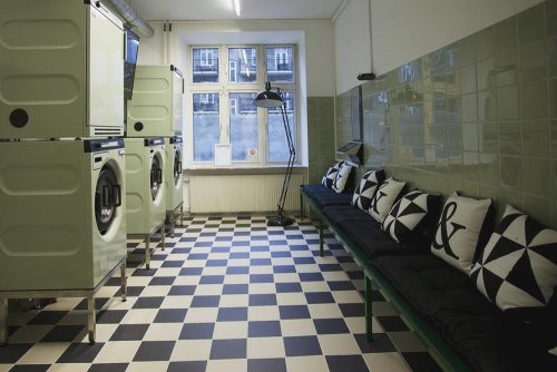 Laundry at a hostel in Copenhagen
