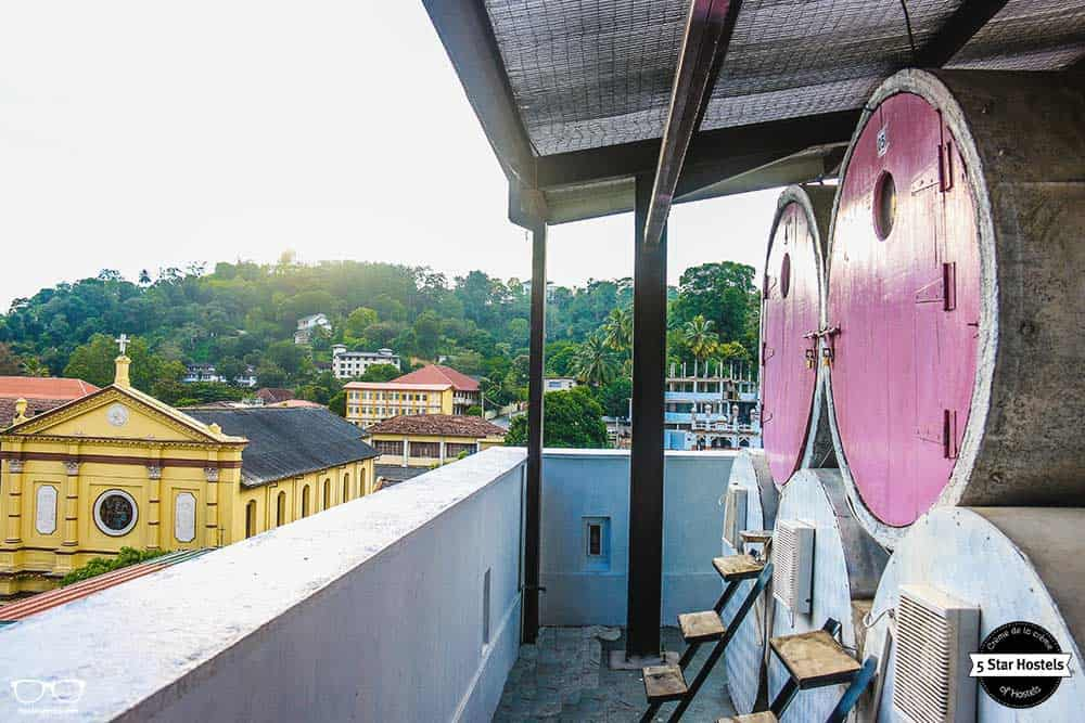 Views from the capsule bed in Clock Inn Kandy