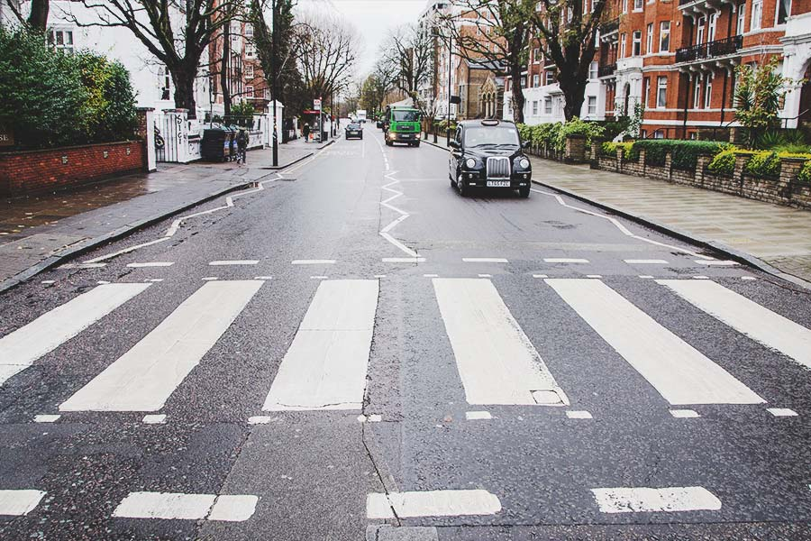 Famous Beatles Zebra in London, the Abbey Road