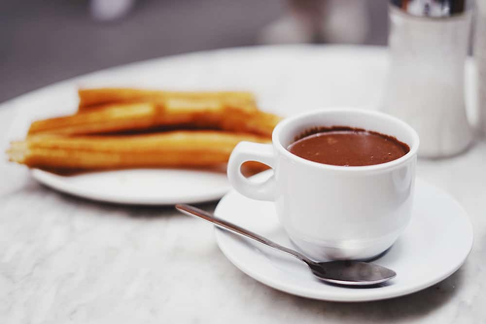Churros con Chocolate, a typical Spanish weekend breakfast