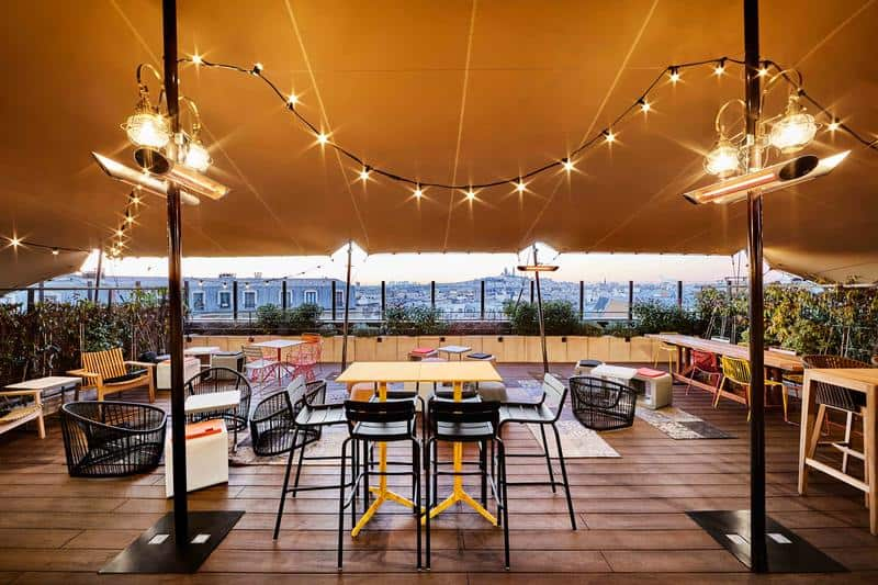 The Roof top terrace at Generator Hostel in Paris