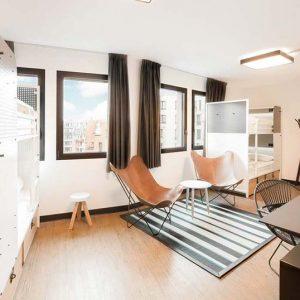 The modern dorm at Generaro Hostel in Paris