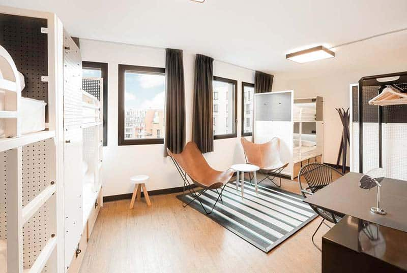 The modern dorm at Generaro Hostel in Paris