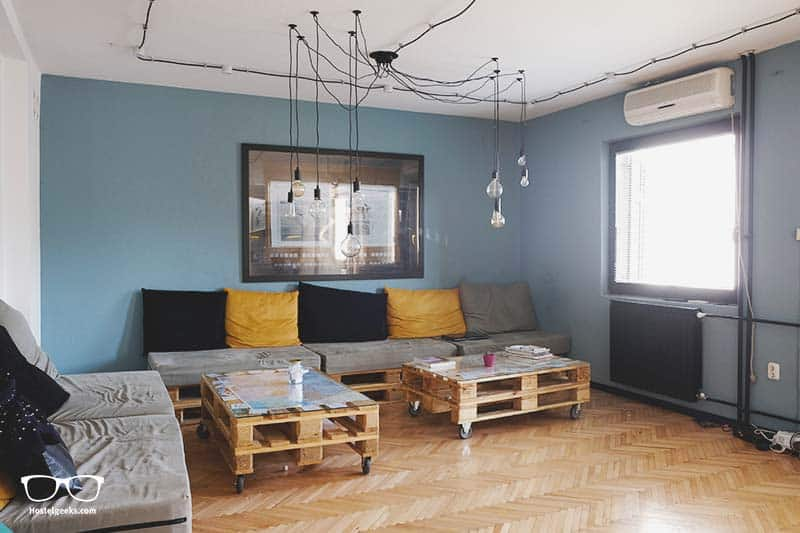 Stylish lounge at Nordic Hostel, one of the best hostels in Skopje