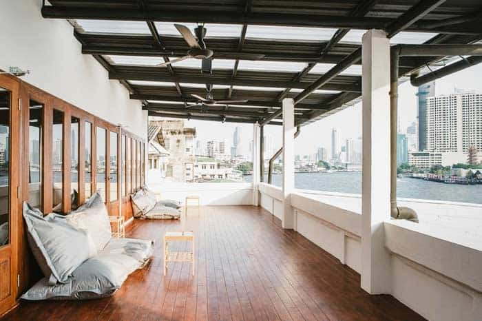 Hostel Urby (Terrace with river view) - one of the best hostels in Bangkok, Thailand