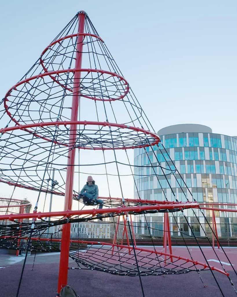 Nordhavn city district park on top of a parking lot in Copenhagen
