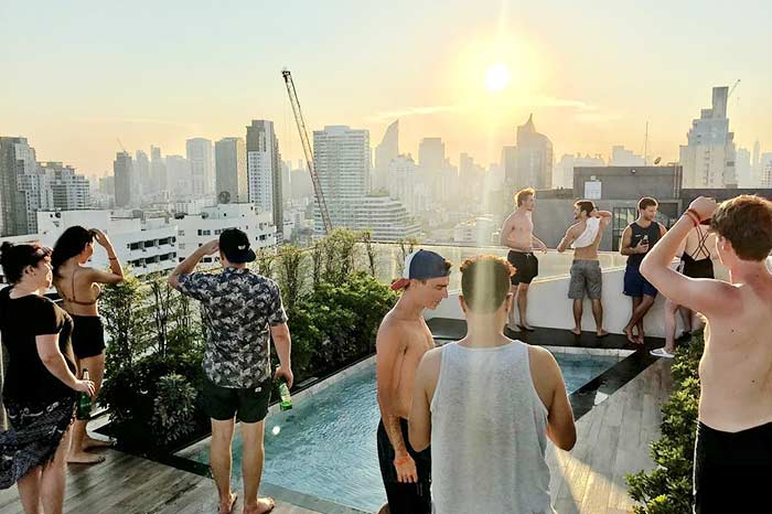 Holy Sheet Hostel is a TOP hostel for solo-travellers in Bangkok. Join their occasional pool parties!
